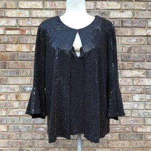 Leslie Fay black metallic shiny top & jacket, XL